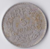 France, Aluminium 5 Francs 1949, VF, WE853